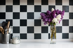 lilacs in kitchen with tiles