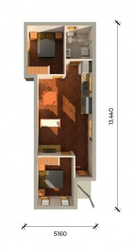 FRENCH 2 PLUS 3D FLOORPLAN