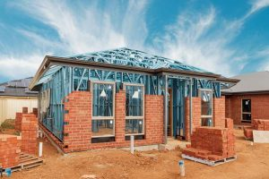 Exterior brickwork during granny flat construction
